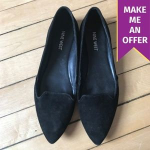 Nine West Sueded Black Pointed Toe Flats